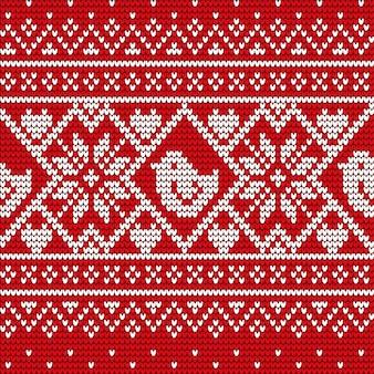 クリスマスカードまたは冬の飾りベクトルとニット