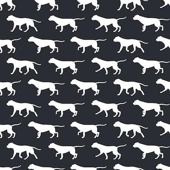 犬のシルエットの動物のシームレスパターン