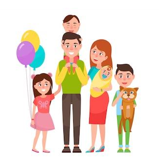 幸せな拡張家族アイコンイラスト