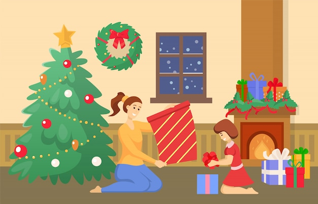 Рождественские каникулы дома, семья с подарками