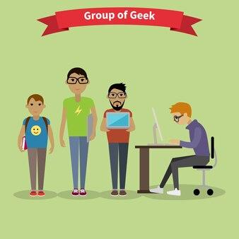 デザイナーチームの人々グループフラットスタイル