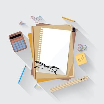 オフィスの机の上の電卓、定規、紙のページアイコン