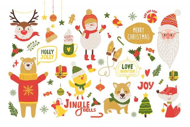 かわいい漫画の動物とメリークリスマスポスター