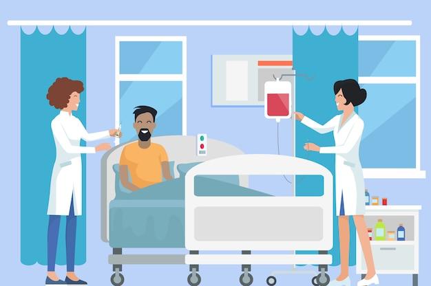 Медсестры ухаживают за пациентом на иллюстрации
