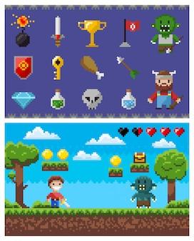 Пиксельные игровые элементы и иконки, пейзаж с героем