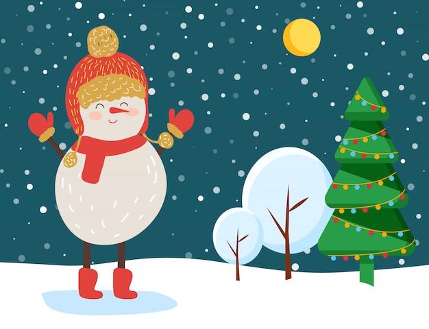 冬の雪に覆われた森、クリスマスイブの雪だるま