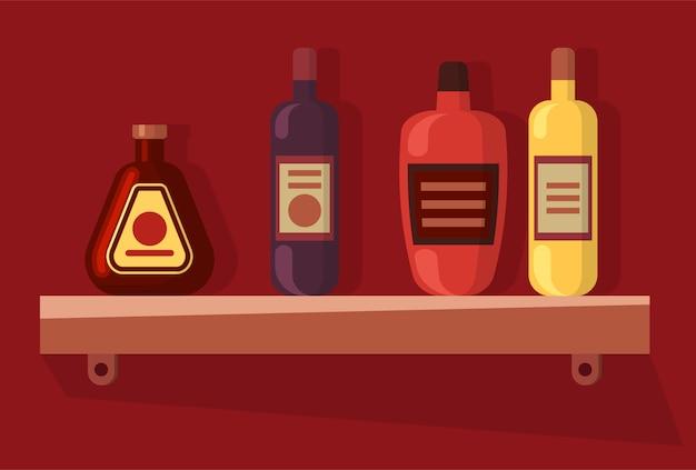 Бутылки на полке, алкогольный напиток, вектор напитка