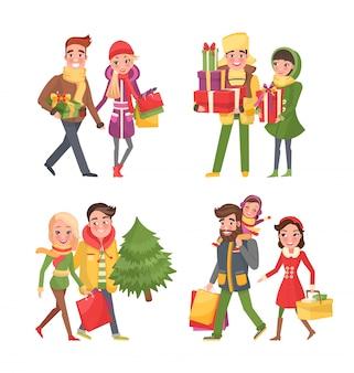 Рождественские покупки, подготовка к праздникам зимой