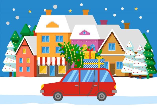 Автомобиль с елью на дороге, городской пейзаж со зданиями
