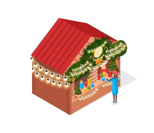 Рождественская ярмарка украшенный дом изометрии