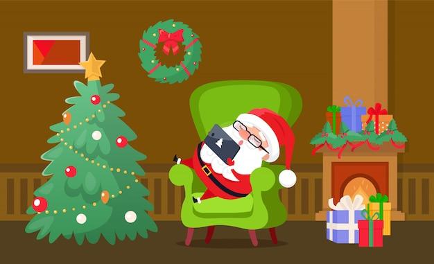 椅子で寝ているメリークリスマスサンタクロース