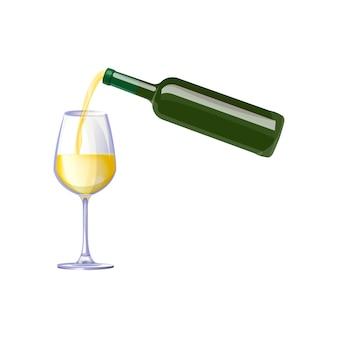 Белое вино из бутылки иллюстрации