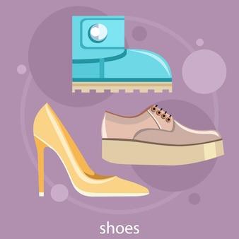 別の靴です。ハイヒールの靴、ブーツ、フラットシューズ、スニーカーの古典的な女性の靴のセット