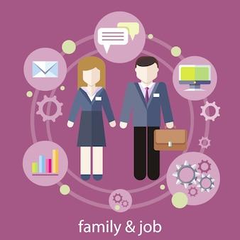 実業家と実業家の周りフラットなデザインのビジネス仕事アイコンのセットです。仕事の家族の概念仕事と家庭生活のバランス