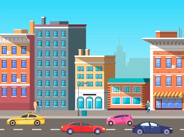 交通量の多い街、道路ベクトル上の車