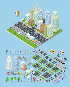 Городской пейзаж и городские объекты иллюстрации.