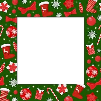 Зимняя праздничная рамка с чулками санта