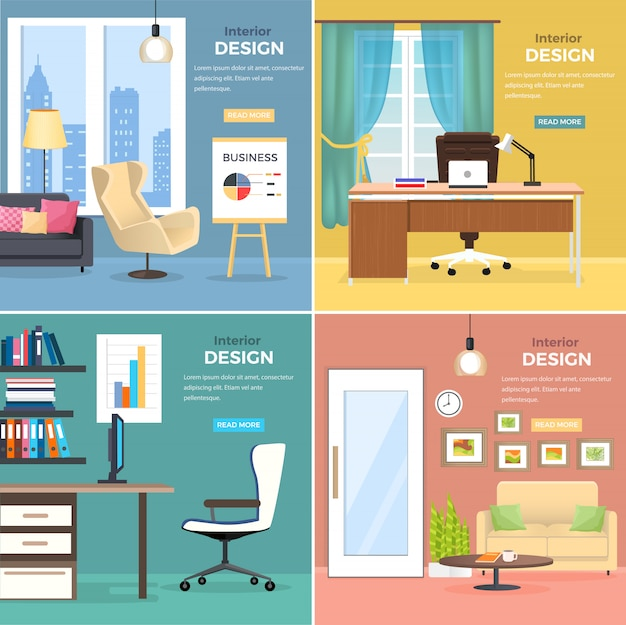 Дизайн интерьера четырех офисных помещений с современной мебелью веб-баннер вектор. два кабинета с деревянными столами, удобными стульями и компьютером, и две комнаты с диванами, круглым журнальным столиком и подставкой