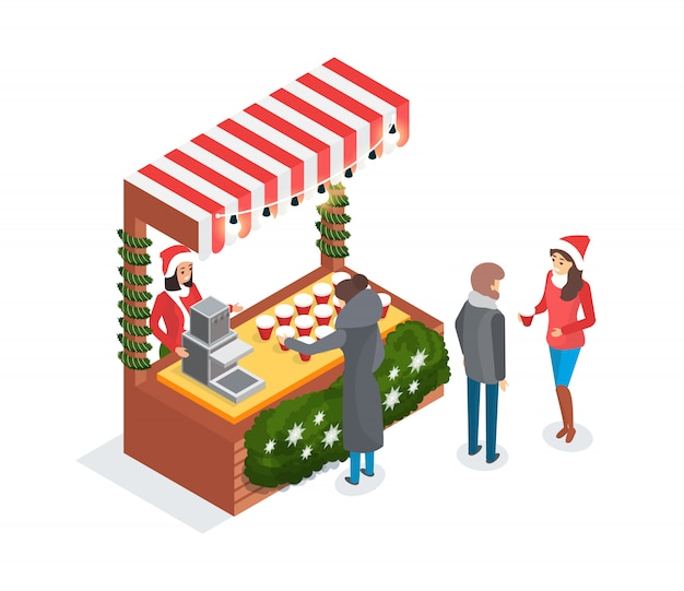コーヒーと露店のクリスマスフェア売り手