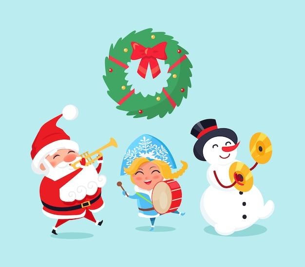 サンタクロース雪だるまのメリークリスマスのお祝い