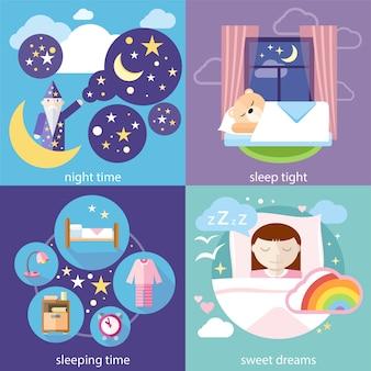 睡眠と夜間、甘い夢