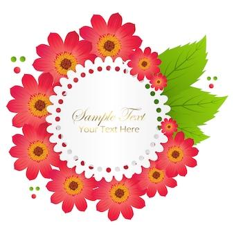 赤い花と波のエッジを持つサークルの葉かわいいお祝いカード