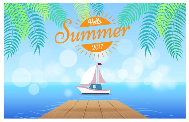 こんにちは熱帯のイラストと夏のカード