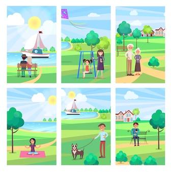 公園で自由時間を過ごす人イラスト