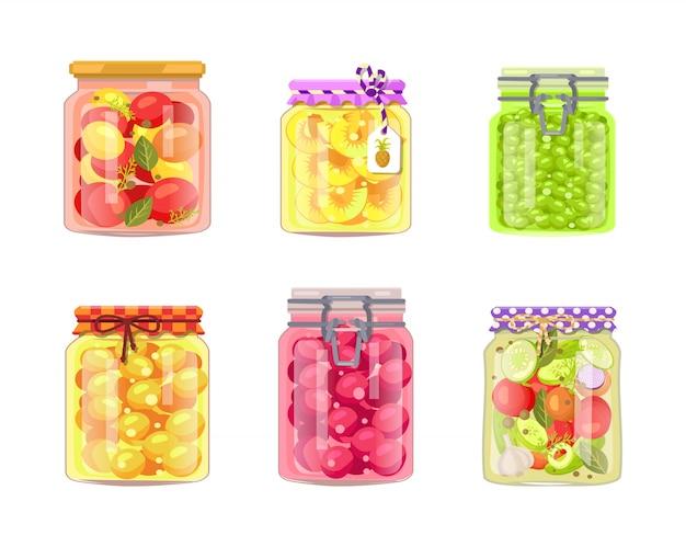 缶詰の野菜の保存果物と果実