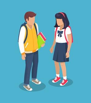 バックパックを持つ中学校の小学生