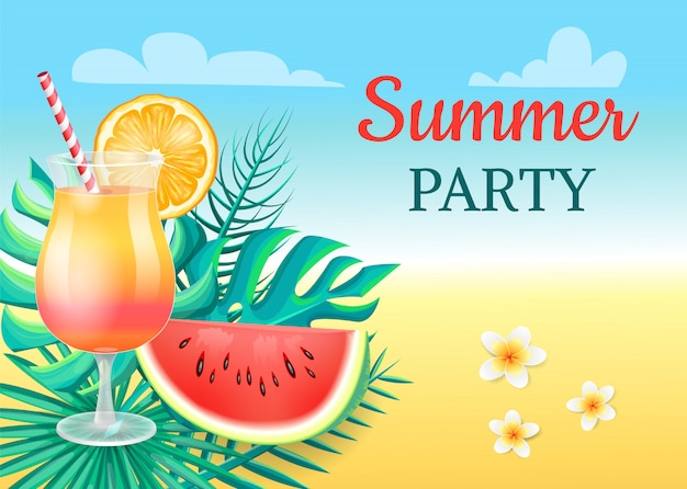 夏のパーティーカクテルパーティーのベクトル図