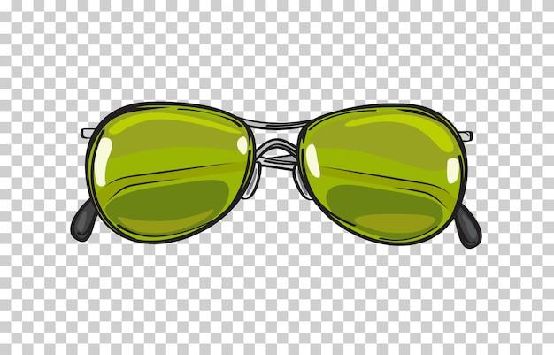 おしゃれなグリーンサングラス絶縁型イラストレーション