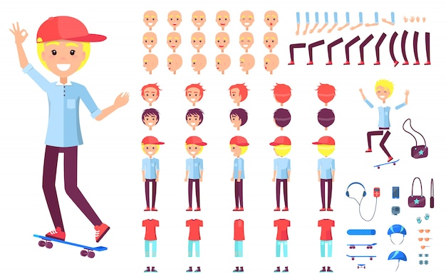 Веселый подросток конькобежец в кепке конструктор