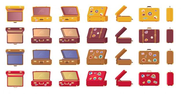 Старомодные винтажные чемоданы с наклейками