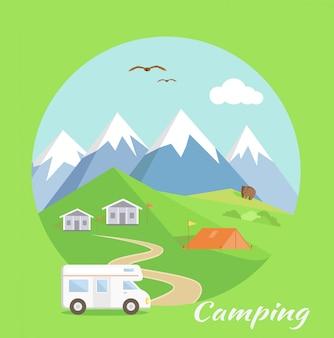 山の近くのキャンプテント