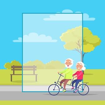自転車に一緒に乗って幸せな熟年カップル