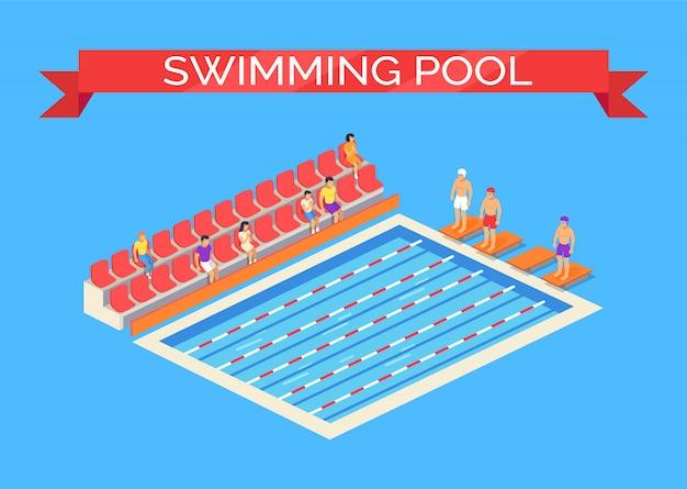 スイミングプールとスポーツマンの図
