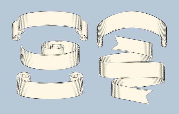 リボンの手描きスケッチセットベクトルアイコン