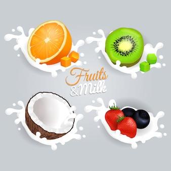Концепция набора фруктов и молока на сером фоне
