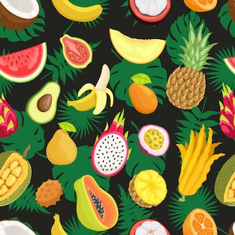 熱帯のエキゾチックなフルーツグリーンリーフのシームレスパターン