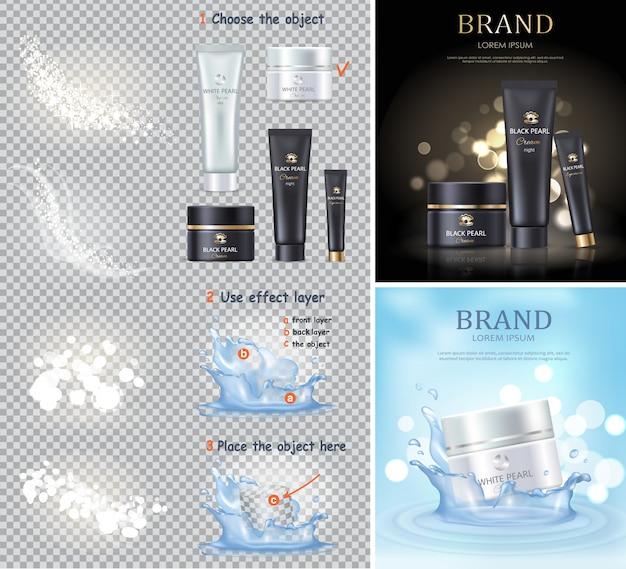 黒と白のパールクリームと分離の瓶。美容処置のためのスキンケアローション。女性化粧品は昇進を意味します