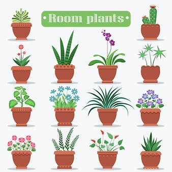 土鍋ベクトルセットで室内の植物