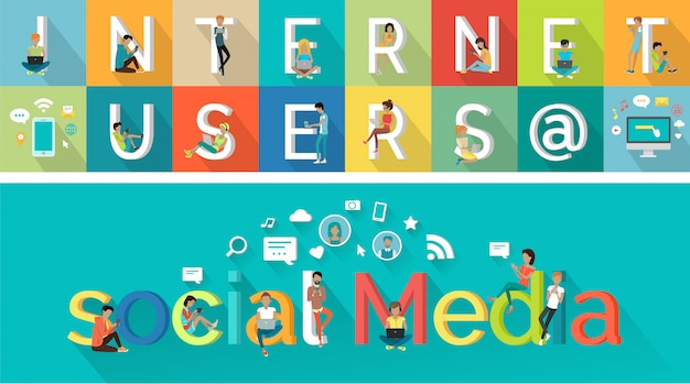 フラットスタイルのデザインのソーシャルメディアベクトルの概念。