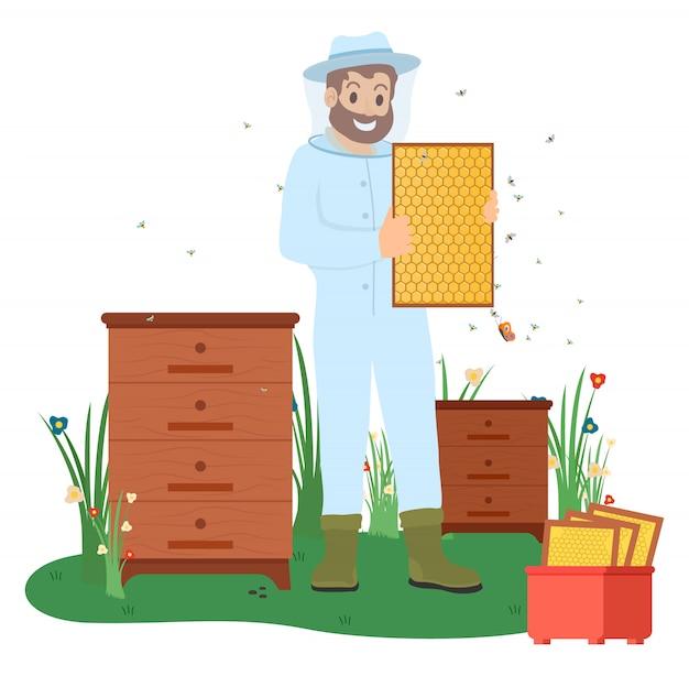 Пчеловод с пчелами, бизнес по производству меда