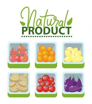 天然物、果物と野菜の市場