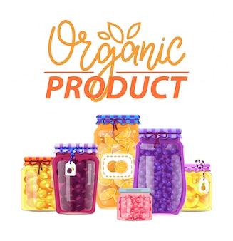 ビン、有機製品の果物と果実
