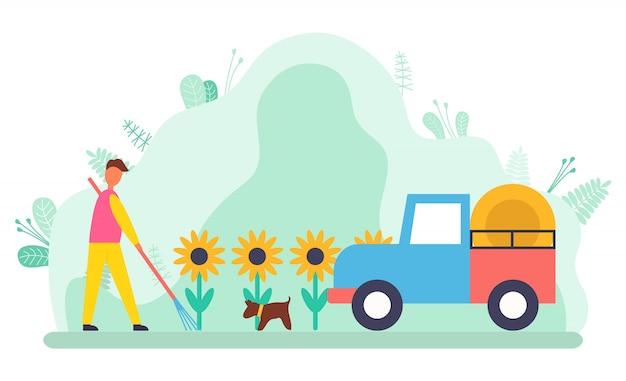 Поле подсолнухов, фермер с трактором