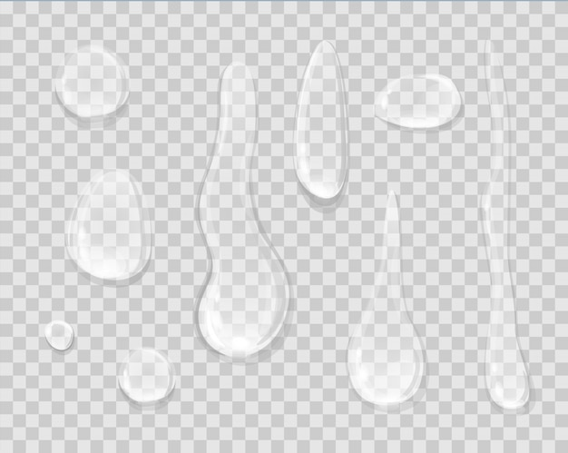 Капли дождя, изолированные на прозрачный