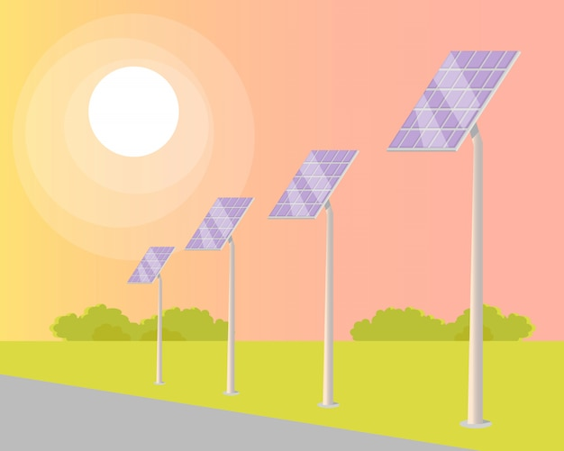 太陽電池パネルは道路に沿って輝く太陽に変わりました
