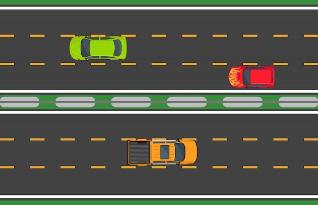 木の自動車と高速道路交通の概念